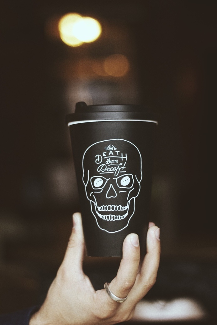 'Death Before Decaf' mug – www.pand.co #reuse #drawn #coffee #skull #typography