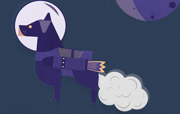 Laika The Space Dog #space #the #flying #stars #rocket #laika #jubb #animal #lucas #dog