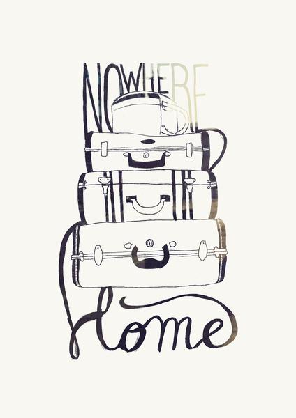 Nowhere Home Art Print #tipografia #wanderlust #travel #illustration #typography
