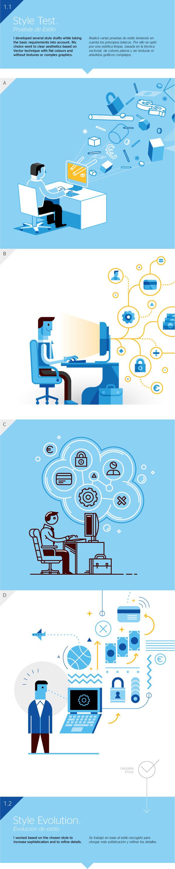 BBVA Corporative Illustration #computer #vector #mauco #business #commerce #sosa #corporative #corporate #illustration #logistics #blue #bbva