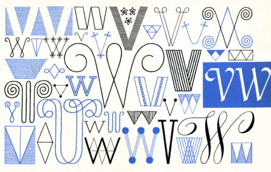 W, V, Embroidery Letterforms, Present and Correct