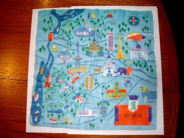 All sizes   Vintage Berlin Map on a Hanky!   Flickr Photo Sharing! #illustration