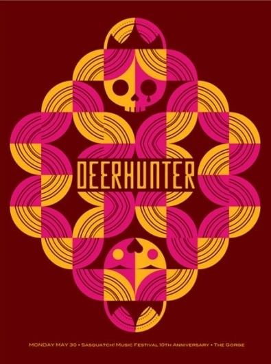 GigPosters.com - Deerhunter #print #design #screen #gigposter #skull