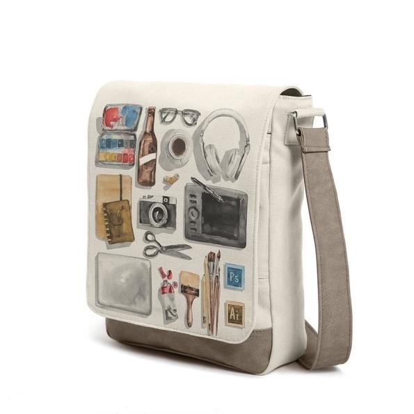 #designerism #beige #bag #messenger #shoulderbag #beerbottle #graphictablet #coffee #headphone #camera #watercolor