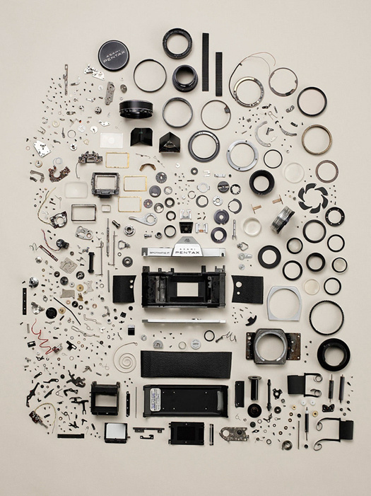Todd Mclellon, a disassembled Pentax camera. #mysteries #camera #organize #accidental