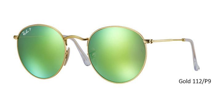 """Ray Ban RB3447 POLARIZED ROUND FLASH LENSES - Gold Sunglasses with Special discount offer get 45% holiday discount on all ray ban! Coupon code: """"RB-HD45"""" valid for one month. Avail free shipping."""