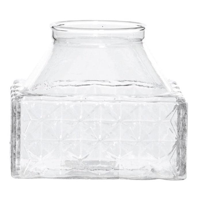 Emerson Glass Lattice Square Vase, 10 cm