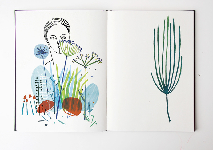 6f124b8c144fe440df3715d25f9ccff9 #illustration #face #plants #sketchbook