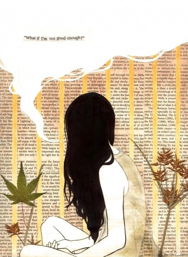 EatSleepDraw #girl #illustration #sadness #mixed #media #doubt