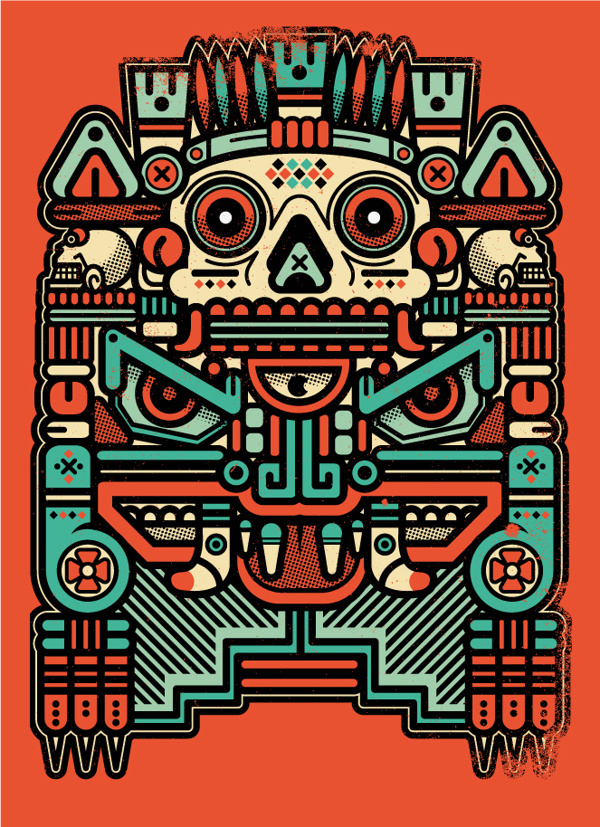 "XOLOTL ""EL ANIMAL"" on Behance #vector #xolotl #art #illustration #colors #vintage"