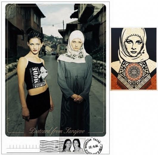 postcardwo.jpg (JPEG Image, 843x829 pixels) #pattern #woman #sarajevo #fairey #bosnia #postcard #shepard