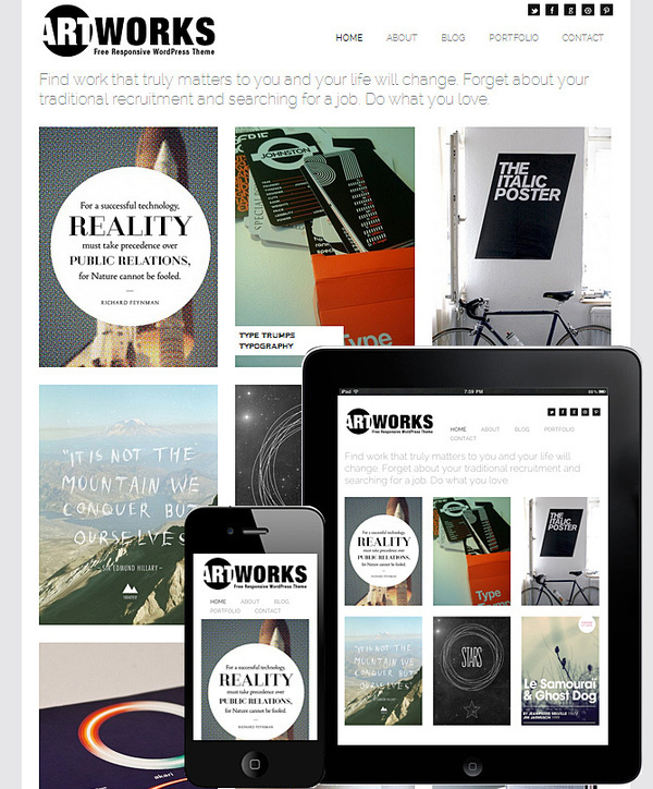 Art Works Responsive Theme (FREE 2013) #layouts #design #theme #grid #wordpress #layout #web