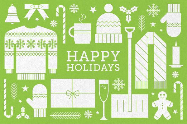 Holiday_card_2013 #icon #card #print #texture #illustration #holiday #greeting #postcard #humor #green
