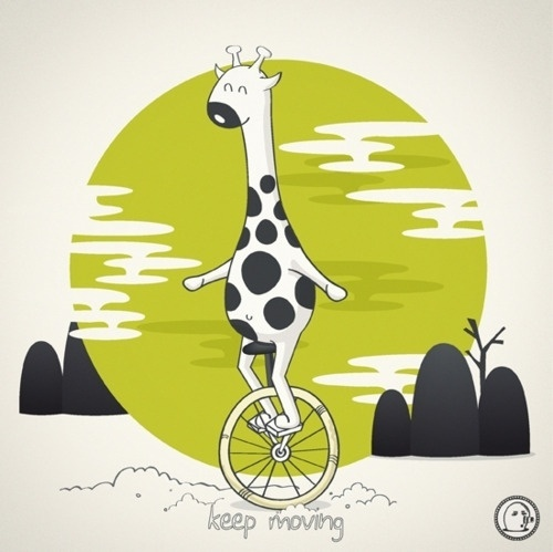 Lonelypeopleart :: Illustration • Life is like riding a bicycle. To keep your... #quotes #giraffe #lonelypeopleart #animals