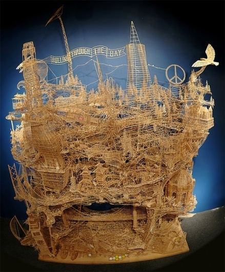 One man, 100,000 toothpicks, and 35 years: An incredible kinetic sculpture of San Francisco » Design You Trust – Social design inspiration! #sculpture #kinetic