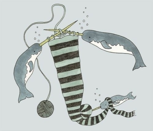 Illustration | Tumblr #illustration #knitting #narwhals