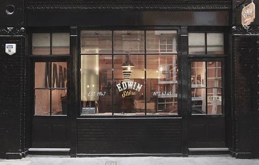 Edwin Europe - London Store #black #store #paint #fashion #typography