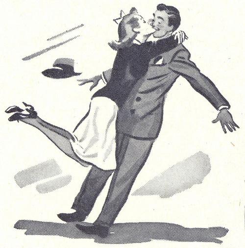 1942-(via File Photo)- on Flickr. #couple #design #illustration #vintage #embrace #40s #cute #art #suit #love #hug
