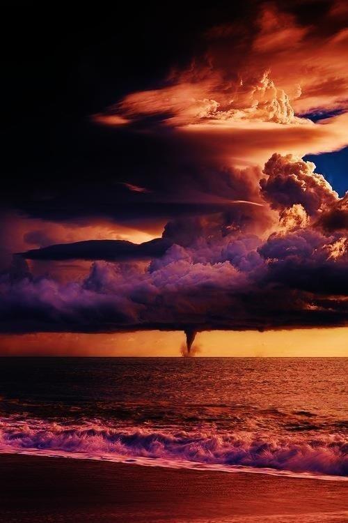storm #clouds #tornado #water #sky #photo #air #orange #landscape #photography #sea #storm #atmosphere #sunset