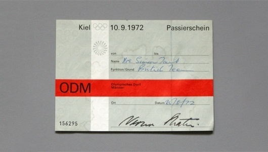 WANKEN - The Blog of Shelby White » Ticket Passes of the 1972 Munich Olympic Games #modern #minimal #olympics #munich #german #ticket