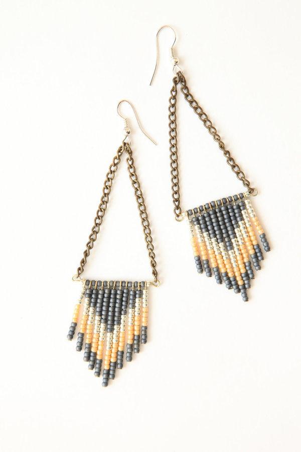 Chevron seed bead earrings #earrings #jewelry