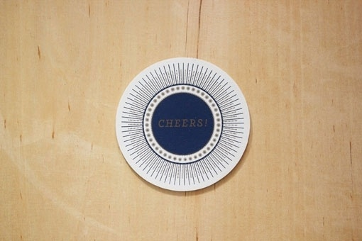 design work life » cataloging inspiration daily #cheers #pattern #gold #type #blue #coaster
