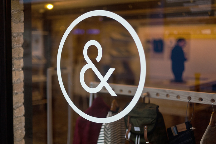 Indigo & Cloth by Designgoat #interior #shop #store #ampersand #window #logo