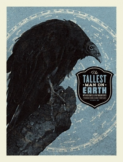 GigPosters.com - Tallest Man On Earth, The - Red Cortez - Parlour Suite, The #vulture #gig #black #poster #blue