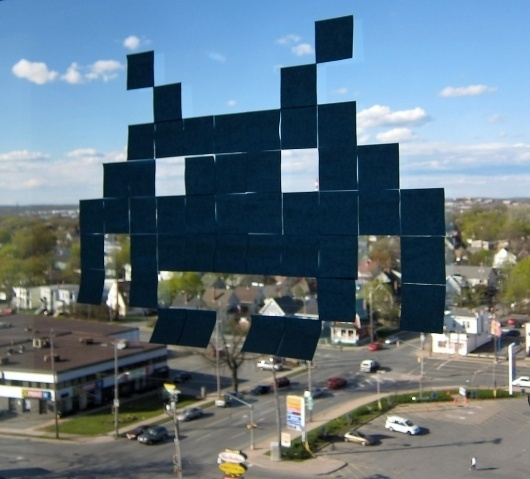All sizes | Space Invaders Post-It pixel art | Flickr - Photo Sharing! #post #bit #space #video #it #invaders #window #game