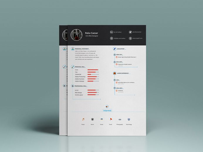 Free Fresh CV Template With Infographic Style Design