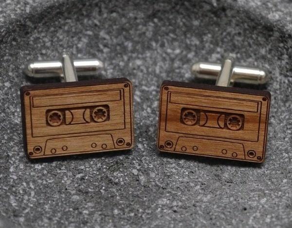 Wooden Cassette Cufflinks #cassette #cufflinks #wooden