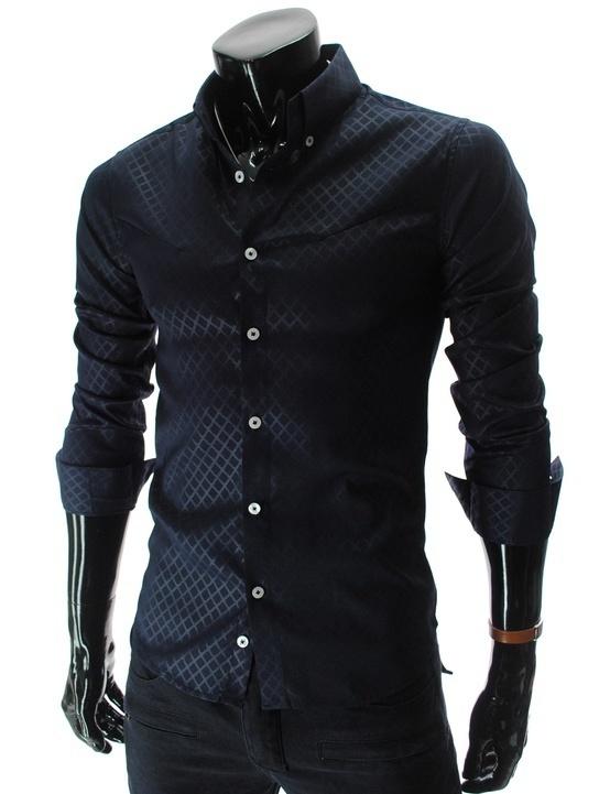 Navy Slim Fit Pattern Dress Shirt #fashion #mens #shirt