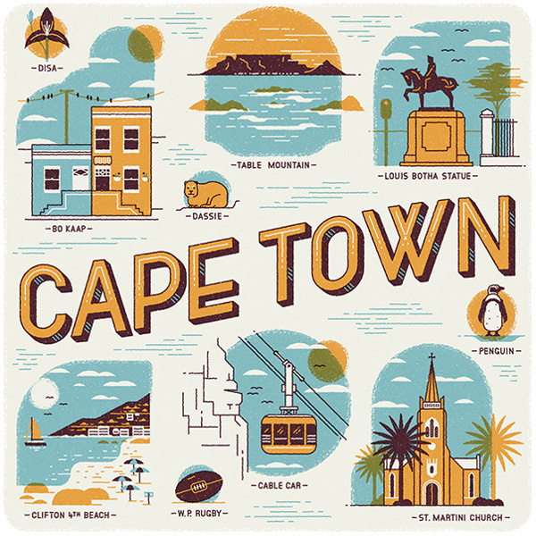 Cape Town illustrations Wish You Were Here Calendar #calendar #south africa #illustrations #cape town