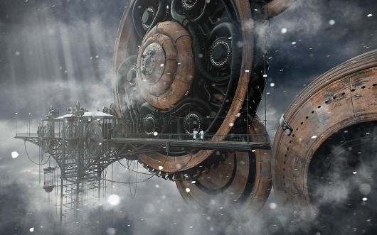 Cloud station. by *Shelest on deviantART #clouds #fog #steampunk #graphics #3d