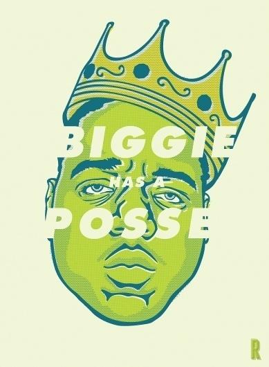 Biggie Illustration « RONLEWHORN #print #design #illustration #portrait #rapper #art #face #drawing #typography