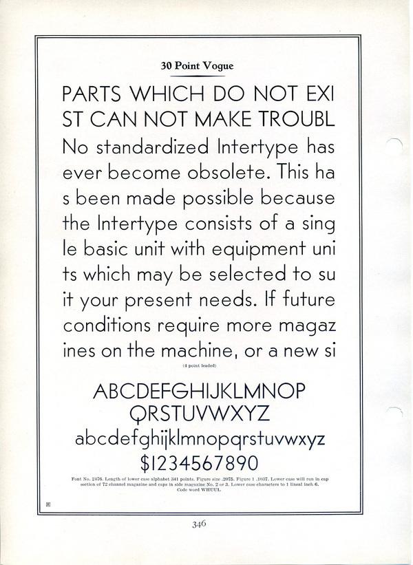 Intertype Vogue Type Specimen #type #specimen #typography