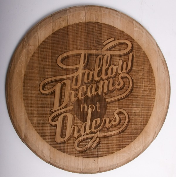 Wood Typography Engraving on the Behance Network #interior #quote #quotes #engraving #wood #illustration #kitchen #type #typography
