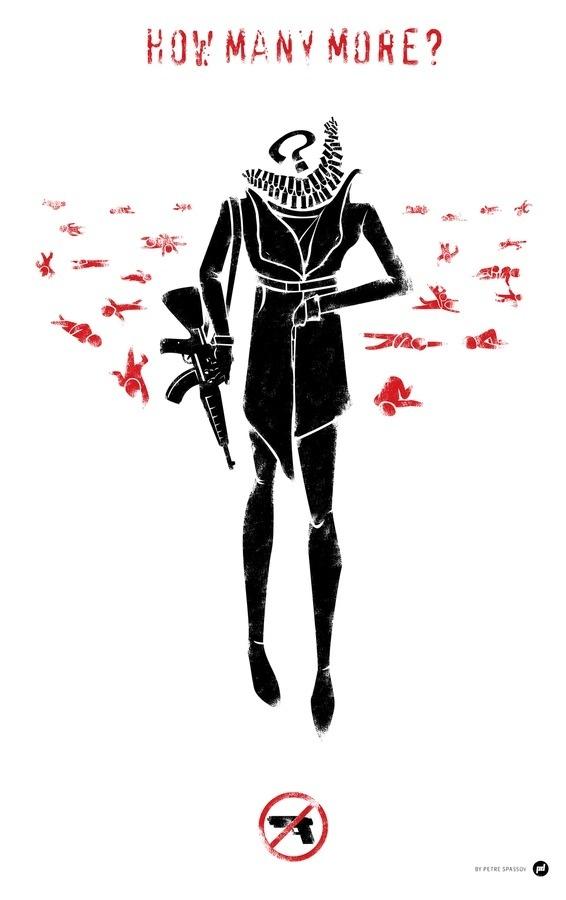 Newtown Antigun illustration #political #spassov #red #petre #black #illustration #vintage #poster #antigun #typography