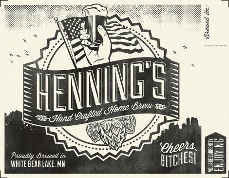 Henning's Home Brew #packaging #beer #label #bottle