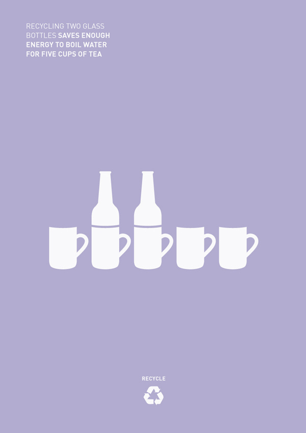 Recycling #recycle #mugs #cups #bottle #design #graphic #world #minimal #tea #poster #purple #recycling