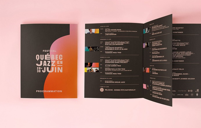 Festival Québec Jazz en Juin - Mindsparkle Mag MamboMambo designed the identity for Jazz en Juin – a new music festival located in Québec city. Its long name was the starting point for the typographic concept. #logo #packaging #identity #branding #design #color #photography #graphic #design #gallery #blog #project #mindsparkle #mag #beautiful #portfolio #designer