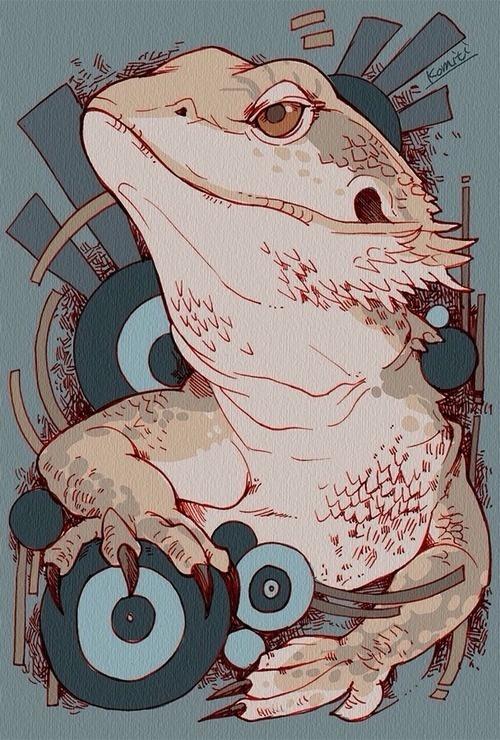 (komiti: 爬虫類シリーズ。 アクアリウムバスに持って行きます) #design #illustration #reptile #art #animal #lizard