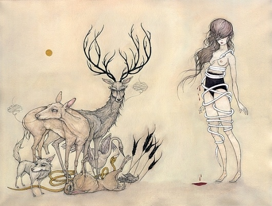 The Summer-Land on the Behance Network #ink #girl #stag #illustration #animals #watercolor #gouache