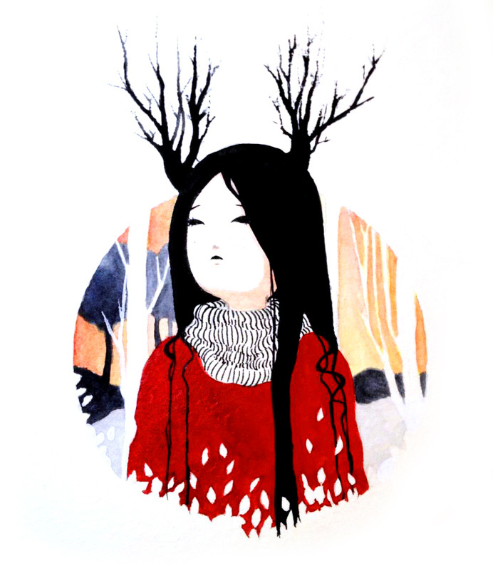 """Inspiration"" Watercolor Facebook and Tumblr: Bana's Kingdom #inspiration #deer #girl #black #landscape #hair #little #autumn #horn #season #spring #watercolor #winter"
