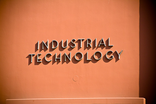 Neutraface style lettering on the SCROC Industrial Technology building