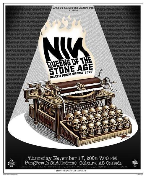 Tumblr #illustration #gig poster #skulls #typewriter #nin #queens of the stoneage