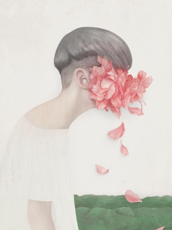 portraits - Hsiao Ron Cheng #profile #petals #design #hair #illustration #art