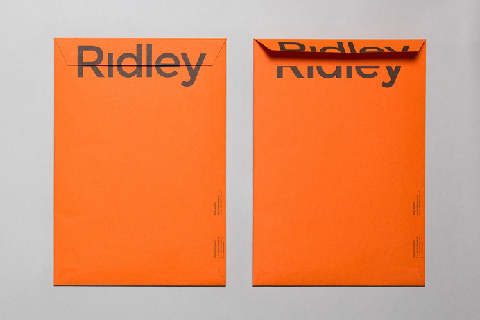 Logotype and envelope designed by RE: for digital architecture and documentation service Ridley. Featured on bpando.org #simple #orange