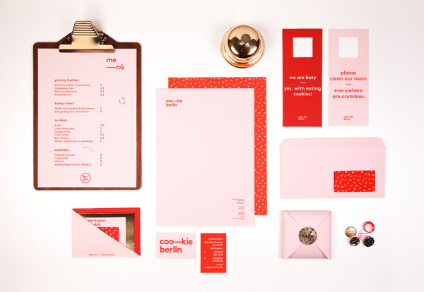 Cookie Hotel Berlin on Behance #print #identity #system #red and pink