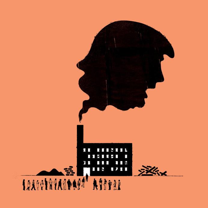 monochromatic illustration nytimes editorial news trump industrial